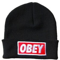 Black Obey Standard Issue Beanie Cuff Hat