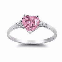 Sterling Silver 0.81ct Heart-cut Pink Sapphire Ice CZ and Russian Ice CZ Diamond Promise Friendship Ring, Peyton (available in sizes 4 to 10)