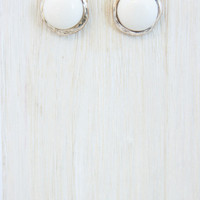 Ivory Button Stud Earring