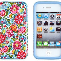 DandyCase 2in1 Hybrid High Impact Hard Clolorful Blooming Flowers Pattern + Sky Blue Silicone Case Cover For Apple iPhone 4S & iPhone 4 + DandyCase Screen Cleaner