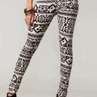 Black Creme Tribal Print Leggings | HGB46