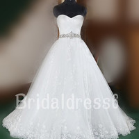 Beads Crystals White Lace Applique Sweetheart Strapless Lace-up Gown Long Wedding Dress, Court train Chiffon Formal Evening Prom Dress