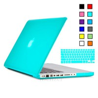 iBenzer - 2 in 1 Multi colors Soft-Touch Plastic Hard Case Cover & Keyboard Cover for Multi Sizes Macbook (Macbook Pro 13'', Macbook Pro 13'' with retina display, Macbook Pro 15'', Macbook Air 13'', Macbook Air 11'') (Macbook Pro 13'', Turquoise)