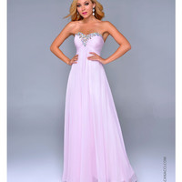 Nina Canacci 2014 Prom Dresses - Baby Pink Chiffon & Beaded Strapless Prom Gown