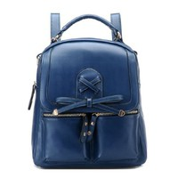 Simple Casual Cross Solid Color Backpack Shoulder Bag