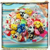25 PCS Mixed Cabochon Animal Cabochon Flat back supply Mix Assorted Cabochon Diy Deco Kits Embellishments Decoration (Cartoon Serious) AK.AM