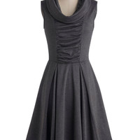 ModCloth Mid-length Sleeveless A-line Storytelling Showstopper Dress in Charcoal