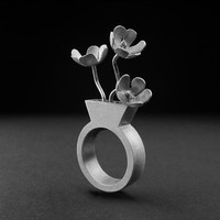 Flower Vase with custom flowers ring - sterling silver - contemporary jewlery