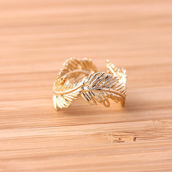 Greek feather ring adjustable gold by loveimagination on Etsy