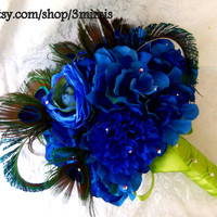 Peacock Feather Wedding Bouquet - Blue Peacock Feather Bouquet- Hydrangea Rhinestone Bouquet- Made to Order
