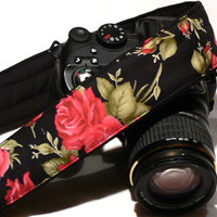 Roses Camera Strap. dSLR Camera Strap. Canon Camera Strap. Nikon Camera Strap. Women Accessories.