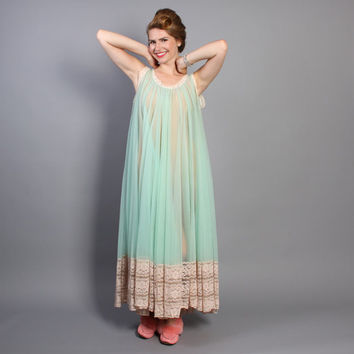 60s Mint Green NIGHTGOWN / Full Sweep Sheer Miss Elaine Nightie