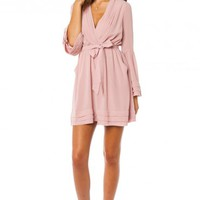 ROREY WRAP DRESS IN BLUSH