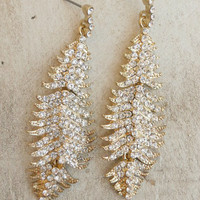 Sparkling Golden Feather Earrings [4357] - $12.00 : Vintage Inspired Clothing & Affordable Dresses, deloom | Modern. Vintage. Crafted.