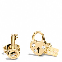 HEART AND KEY PADLOCK STUD EARRINGS