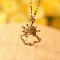 Smile Sun With Clouds Necklace, So Cute Necklace,Best Gift For Your Lover and Friends--N072
