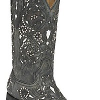 Corral® Women's Distressed Black w/ White Inlay & Silver Studs Square Toe Western Boots