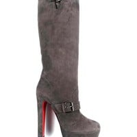 Christian Louboutin Buckled Slip-On Suede Boots Made In Italy - Christian Louboutin - Modnique.com